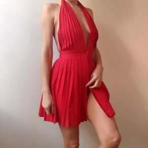 Opening Ceremony pleated red backless cotton dress
